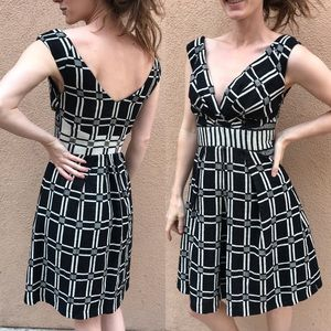 Anthropologie Eva Franco Dress Black White Squares